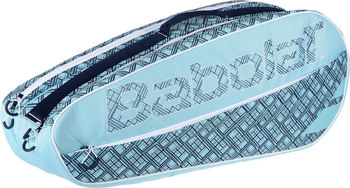 Чехол для теннисных ракеток Babolat Club, на 6 ракеток, цвет: голубой751140Теннисный чехол для шести теннисных ракеток для тех спортсменов, которым нужен качественный чехол оптимального размера и надежной защитой всего содержимого. Разработан специально для игроков высокого уровня, эта сумка имеет новую структуру и материалы с большим количеством различных функций, собранных в свежем и инновационном внешнем виде. Сумка включает в себя два основных отделения, которые могут вместить до шести ракеток. Есть внешний карман для мелких предметов и удобный плечевой ремень для удобной переноски. Съемные и регулируемые плечевые ремни для ношения на спине как рюкзак. Функциональная и удобная ручка для переноски в руке. Этот чехол специально создан для соревнующихся игроков, но также он подходит игрокам любых уровней благодаря своим многочисленным функциям.Размеры 74 х 31 х 22 см.