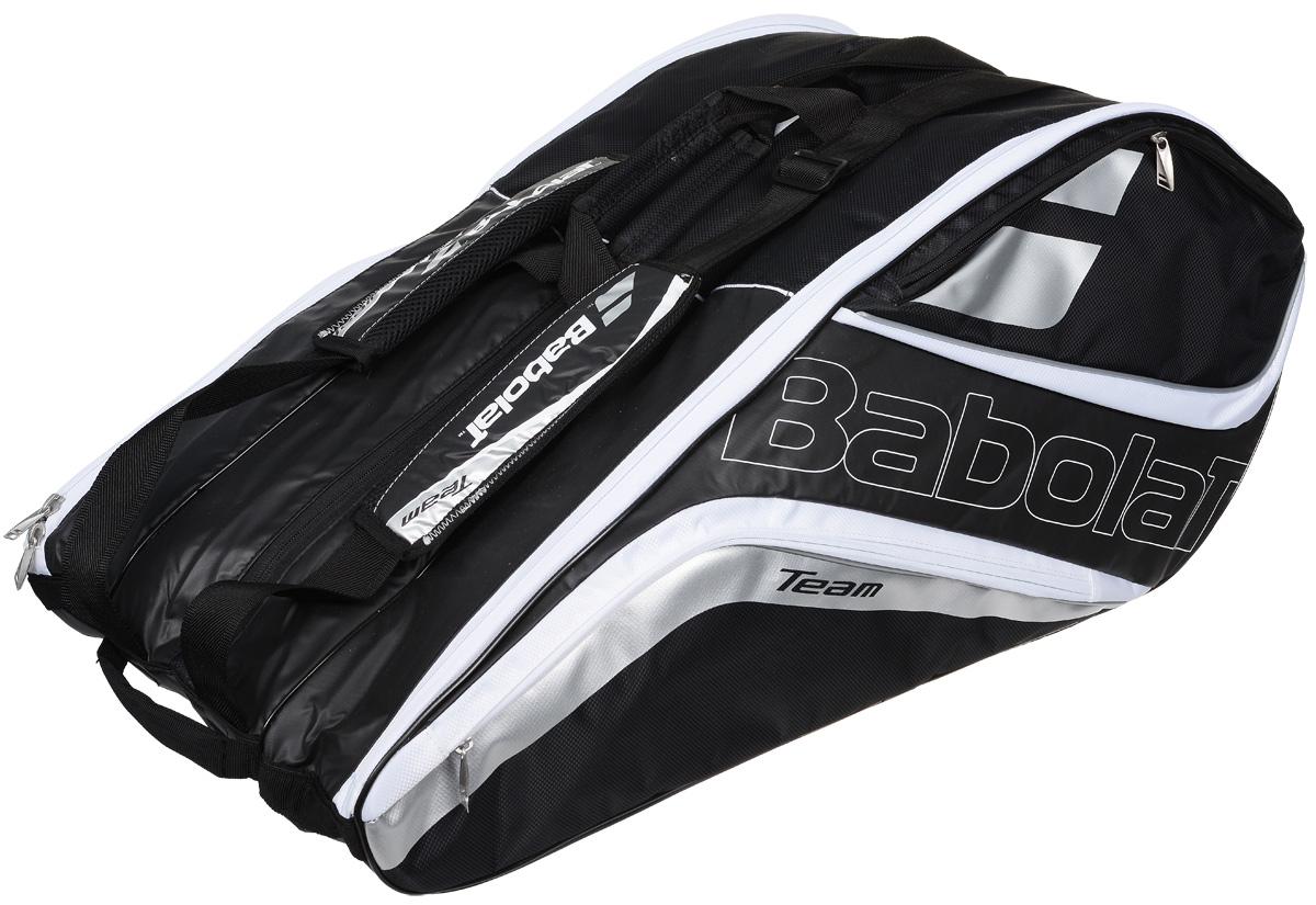 Чехол для теннисных ракеток Babolat  Team Line , на 12 ракеток, цвет: черный, белый - Теннис