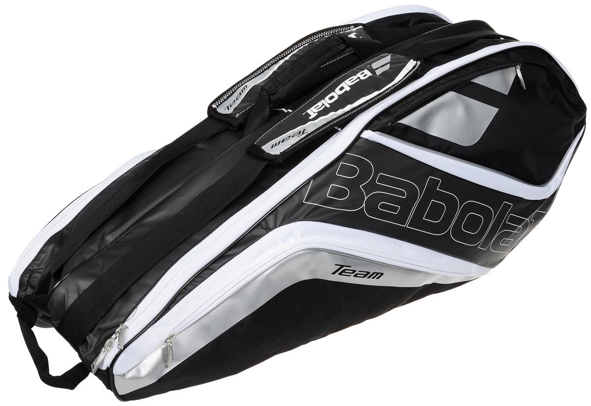Чехол для теннисных ракеток Babolat  Team Line , на 6 ракеток, цвет: черный, белый - Теннис