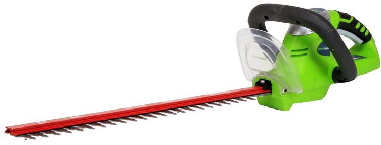 """Кусторез """"Greenworks"""" - это инструмент для ухода за живыми изгородями, садовыми кустами и деревьями. Удобная прорезиненная ручка и небольшой вес позволяет удобно и легко работать без усталости. Благодаря питанию от 24V аккумулятора кусторез обеспечивает долгую автономную работу, а также данный аккумулятор совместим с другими устройствами из серии G-24.   Особенности:  Система блокировки в случае заклинивания лезвий;  Хорошая режущая способность, мощный мотор, высокий момент;  Аккумуляторная система 24В G24;  Длина лезвий: 47 см.  Ширина режущей кромки: 18 мм.   Система блокировки в случае заклинивания лезвий.  Хорошая режущая способность, мощный мотор, высокий момент.  Работает с аккумуляторами Greenworks G24 и зарядным устройством G24С."""