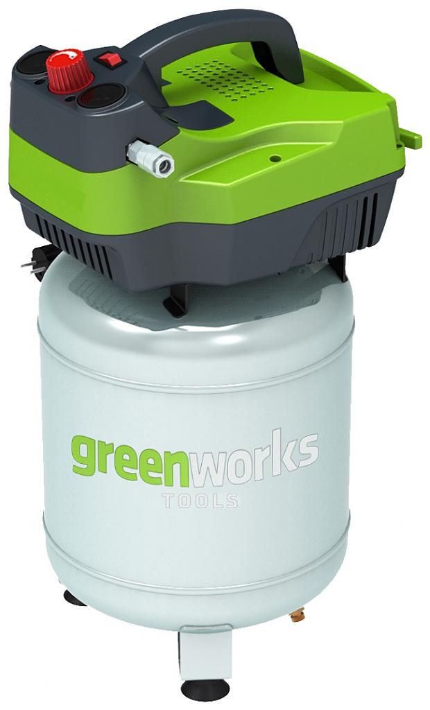 Компрессор электрический Greenworks вертикальный, 1500W, 8 bar4101707• Индукционный двигатель 2 л.с. • 140 л/мин • Безмасляный • Быстроразъемное соединение штуцеров • Работа от сети 220В• Индукционный двигатель 2 л.с.• Мощность 1500Вт• Безмасляный• Объем ресивера 24 л • 140 л/мин• Макс. давление 8 бар• Быстроразъемное соединение штуцеров • Гарантия 2 года