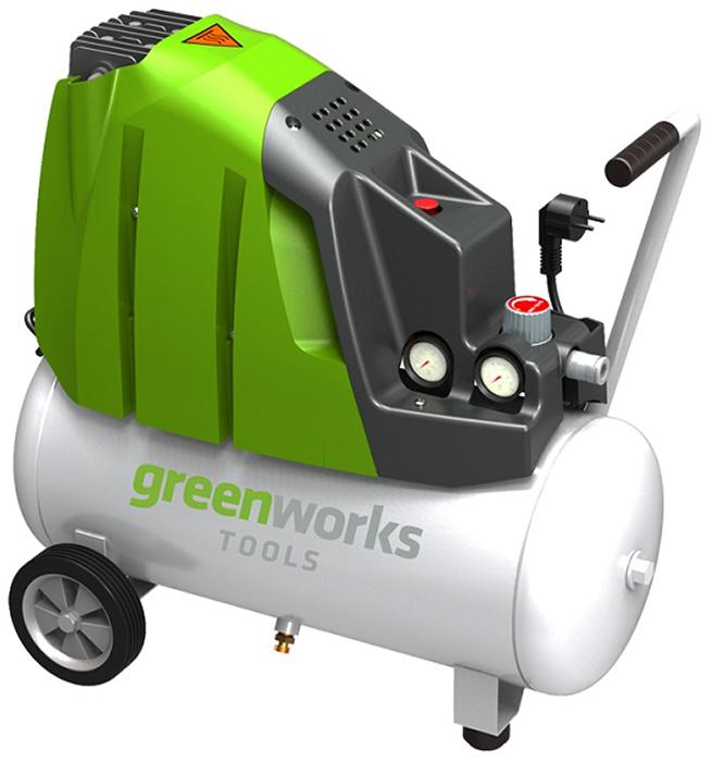 Компрессор электрический Greenworks 1500W, 8 Bar 41018074101807Компрессор электрический Greenworks оснащён ручкой регулятора давления для регулировки количества воздуха, поступающего через шланг. Безмасляный насос снижает потребность в техническом обслуживании. Воздушный компрессор оснащен быстроразъемным соединением. Особенности: Подача воздуха: 173 л/мин. Безмасляный. Быстроразъемное соединение штуцеров. Работа от сети 220В. Индукционный двигатель 2 л.с. Мощность 1500Вт. Объем ресивера 24 л. Максимальное давление 8 бар. Гарантия 2 года.