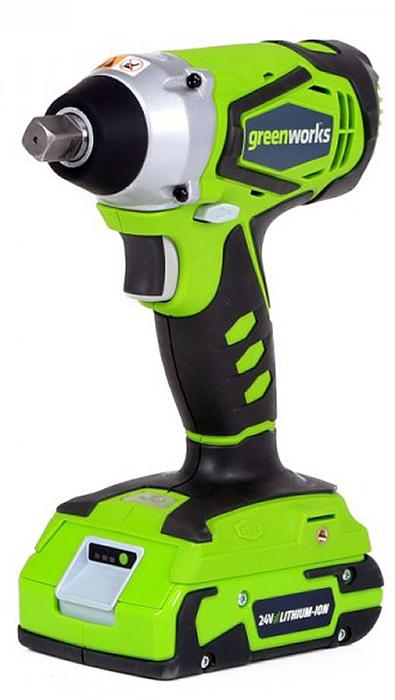 Гайковерт ударный аккумуляторный Greenworks 24В. 38012073801207• Импульсный механизм • Бесключевой квадратный патрон (1/2) • 4000 ударов в минуту • LED подсветка • Аккумуляторная система 24В G24• Импульсный механизм• Макс. крутящий момент 300 Н*м• Бесключевой квадратный патрон (1/2)• 4000 ударов в минуту • LED подсветка• Работает с аккумуляторами Greenworks G24 (арт. 2902707, 2902807) и зарядным устройством G24С (арт. 2913907)• Гарантия 2 года