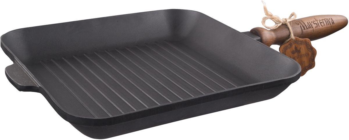 Сковорода-гриль Майстерня, квадратная, 28 х 28 смТ307Сковорода чугунная литая Майстерня выполнена из чугуна.Уважаемые клиенты! Для сохранения свойств посуды из чугуна и предотвращения появления ржавчины чугунную посуду мойте только вручную, горячей или теплой водой, мягкой губкой или щёткой (не металлической) и обязательно вытирайте насухо. Для хранения смазывайте внутреннюю поверхность посуды растительным маслом, а перед следующим применением хорошо накалите посуду.