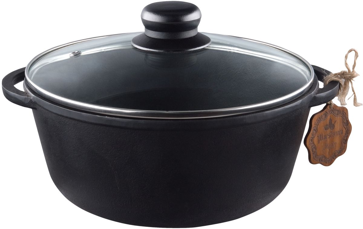 Кастрюля Майстерня с крышкой, 5 лBK-3810Кастрюля Майстерня изготовлена из натурального экологически безопасного чугуна. Чугун является одним из лучших материалов для производства посуды. Его можно нагревать до высоких температур. Он очень практичный, не выделяет токсичных веществ, обладает высокой теплоемкостью и способен служить долгие годы. Изделие оснащено стеклянной крышкой с пароотводом. Такая кастрюля замечательно подойдет для супов и тушеных блюд, при этом результат всегда просто потрясающий. Вы всегда будете готовить самую вкусную и полезную для здоровья пищу. Уважаемые клиенты! Для сохранения свойств посуды из чугуна и предотвращения появления ржавчины чугунную посуду мойте только вручную, горячей или теплой водой, мягкой губкой или щёткой (не металлической) и обязательно вытирайте насухо. Для хранения смазывайте внутреннюю поверхность посуды растительным маслом, а перед следующим применением хорошо накалите посуду.