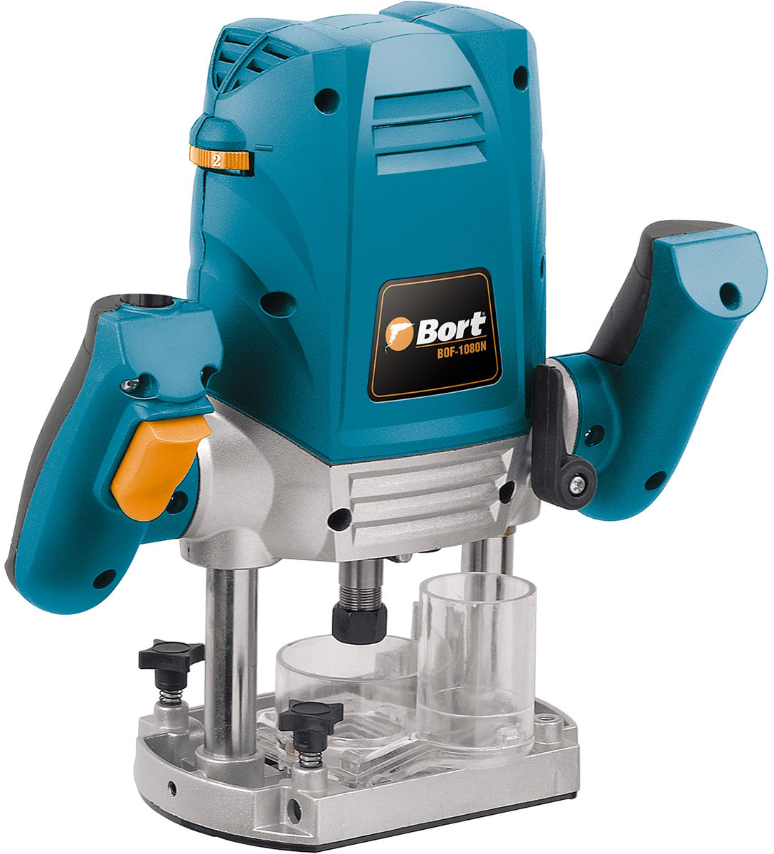 Фрезер Bort BOF-1080N, электрическийBOF-1080NЭлектрический фрезер Bort BOF-1080N активно применяется в мебельном и дверном производстве. Модель имеет небольшой вес и габариты, что позволяет перевозить ее в багажнике автомобиля. Полупрофессиональный инструмент пропиливает отверстия глубиной до 44 мм, а мощный двигатель разгоняет режущие элементы до 30000 об/мин. Фрезер предназначен для обработки деревянных заготовок, однако на минимальных скоростях эффективно режет и металл, и пластик.Комплектация: параллельная направляющая, ключ, фреза, адаптер для подключения пылесоса, дополнительный комплект щеток, центральный упор, цанга 6 мм, цанга 8 мм.Характеристики: Регулировка оборотов: есть.Мощность: 1200 Вт.Рабочий ход фрезы: 45 мм. Плавный пуск: нет.Поддержание постоянных оборотов под нагрузкой: нет. Встроенный патрубок пылеотсоса: есть.Число оборотов: 11500-30000 об/мин.Размер цанги: 6-8 мм.Наличие подсветки: нет.
