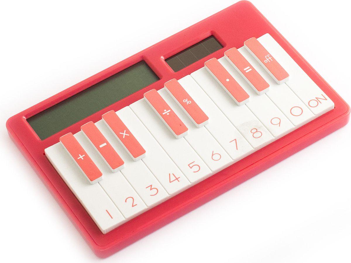 Эврика Калькулятор настольный Пианино цвет светло-красный92949Питание как от солнечной, так и от встроенной батарейки. Звуков не воспроизводит (просто оригинальный калькулятор в виде пианино).
