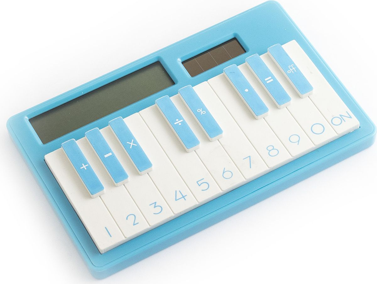 Эврика Калькулятор настольный Пианино цвет синий93137Питание как от солнечной, так и от встроенной батарейки. Звуков не воспроизводит (просто оригинальный калькулятор в виде пианино).