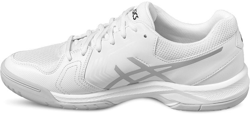 Кроссовки для тенниса мужские Asics Gel-Dedicate 5, цвет: белый, серебристый. E707Y-0193. Размер 8H (40,5)E707Y-0193Усиленная структура со всех сторон стопы делает кроссовки Asics Gel-Dedicate 5 идеальными для тенниса вне зависимости от того, являетесь ли вы новичком или играете достаточно регулярно. Эти мужские теннисные кроссовки с технологией Asics дарят комфорт и обеспечивают стабильность от первой подачи до матч-пойнта. Подрезай, обходи, иди на рывок – весь корт твой. С системой амортизации в задней части ступни Asics Forefoot GEL Cushioning System, однородной резиновой поверхностью подошвы и гибким верхом эти теннисные кроссовки снижают отдачу при резких движениях и обеспечивают максимальный комфорт и точную посадку по ноге. Кроссовки Asics Gel-Dedicate 5 - идеальный выбор для игроков в теннис, которым необходимо соответствующая обувь.