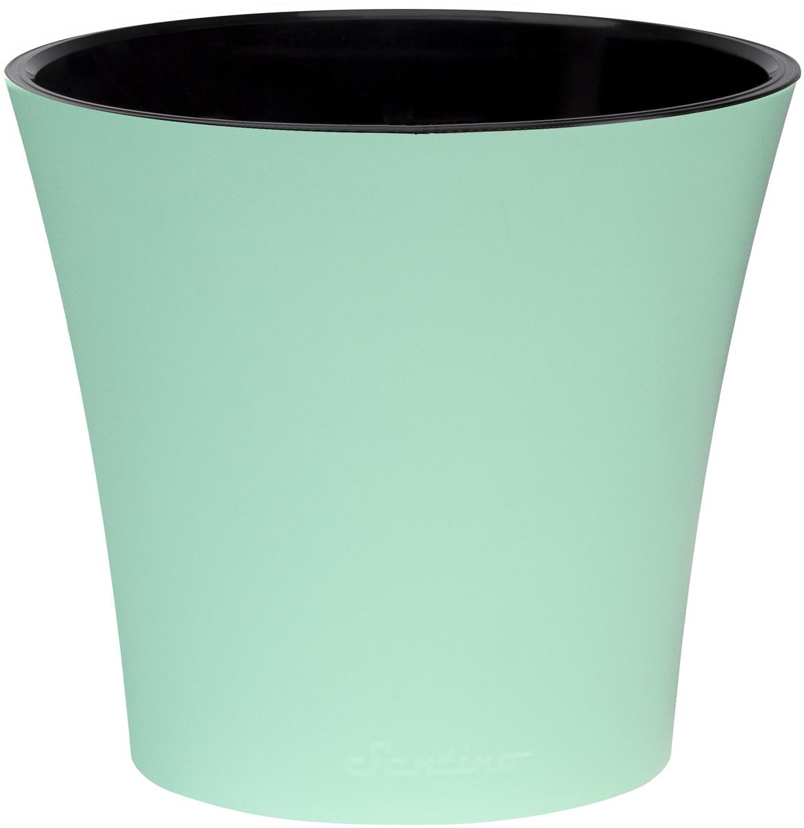 Горшок для цветов Santino Арте, двойной, с системой автополива, цвет: мятный, черный, 2 лАРТ 2 М-ЧЛюбой, даже самый современный и продуманный интерьер будет незавершенным без растений. Они не только очищают воздух и насыщают его кислородом, но и украшают окружающее пространство. Горшок Santino выполненный из высококачественного пластика, предназначен для выращивания комнатных цветов, растений и трав.Инновационная система автополива обладает рядом преимуществ: экономит время при уходе за растением, вода не протекает при поливе, и нет необходимости в подставке, корни не застаиваются в воде.Такой горшок порадует вас современным дизайном и функциональностью, а также оригинально украсит интерьер любого помещения. Высота горшка: 15 см;Диаметр: 16,5 см.