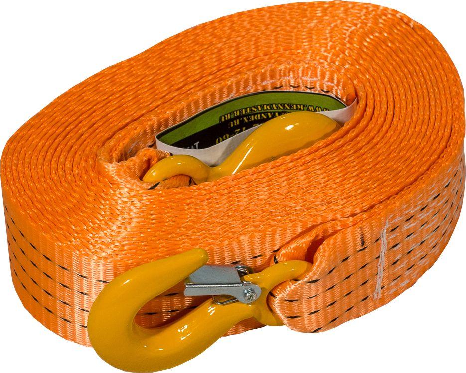 Стропа буксировочная KennyМастер, с крюками, цвет: оранжевый, 6 т, 7 мKM-BKK0607Стропа буксировочная KennyМастер предназначена для буксировки автомобиля на гибкой цепке. Трос изготовлен из полиэстеровой ленты прочностью на разрыв 7,2т, устойчив к истиранию и воздействию агрессивных сред, На концах крюки грузоподъемные из конструкционной стали.Длина: 7 м;Ширина ленты: 50 мм;Материал ленты: полиэстер;Исполнение: крюк/крюкГарантия: 1 год.