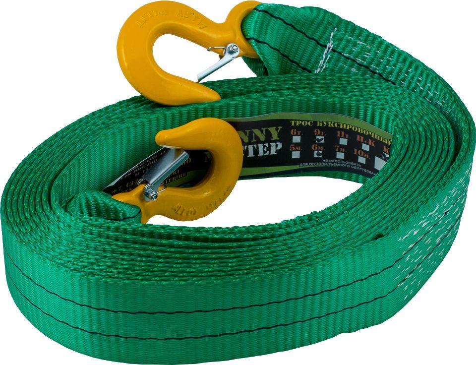 Стропа буксировочная KennyМастер, с крюками, цвет: зеленый, 9 т, 6 мKM-BKK0906Стропа буксировочная KennyМастер предназначена для буксировки автомобиля на гибкой цепке. Трос изготовлен из полиэстеровой ленты прочностью на разрыв 10,5т, устойчив к истиранию и воздействию агрессивных сред, огон усилен протекторным полотном, на концах крюки грузоподъемные из конструкционной стали.Длина: 6 м;Ширина ленты: 60 мм;Материал ленты: полиэстер;Исполнение: крюк/крюкГарантия: 1 год.