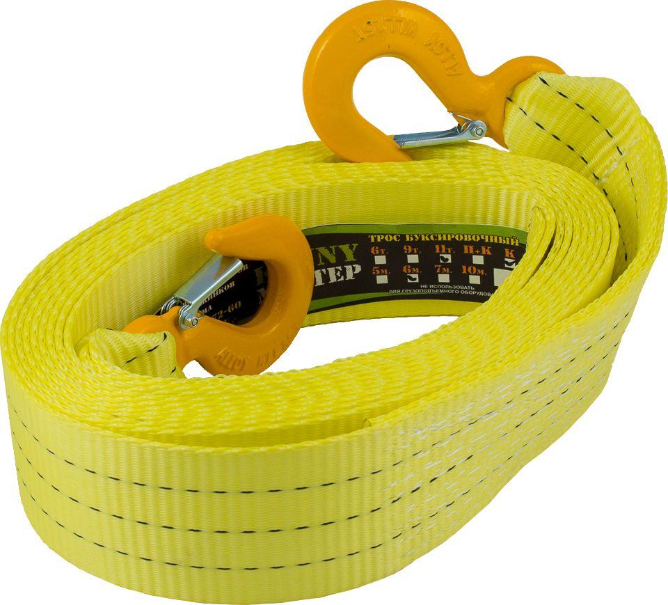 Стропа буксировочная KennyМастер, с крюками, цвет: желтый, 11 т, 6 мKM-BKK1106Стропа буксировочная KennyМастер предназначена для буксировки автомобиля на гибкой цепке. Трос изготовлен из полиэстеровой ленты прочностью на разрыв 11 т, устойчив к истиранию и воздействию агрессивных сред, огон усилен протекторным полотном, на концах крюки грузоподъемные из конструкционной стали. Длина: 6 м;Ширина ленты: 75 мм;Исполнение: крюк/крюк;Гарантия: 1 год.
