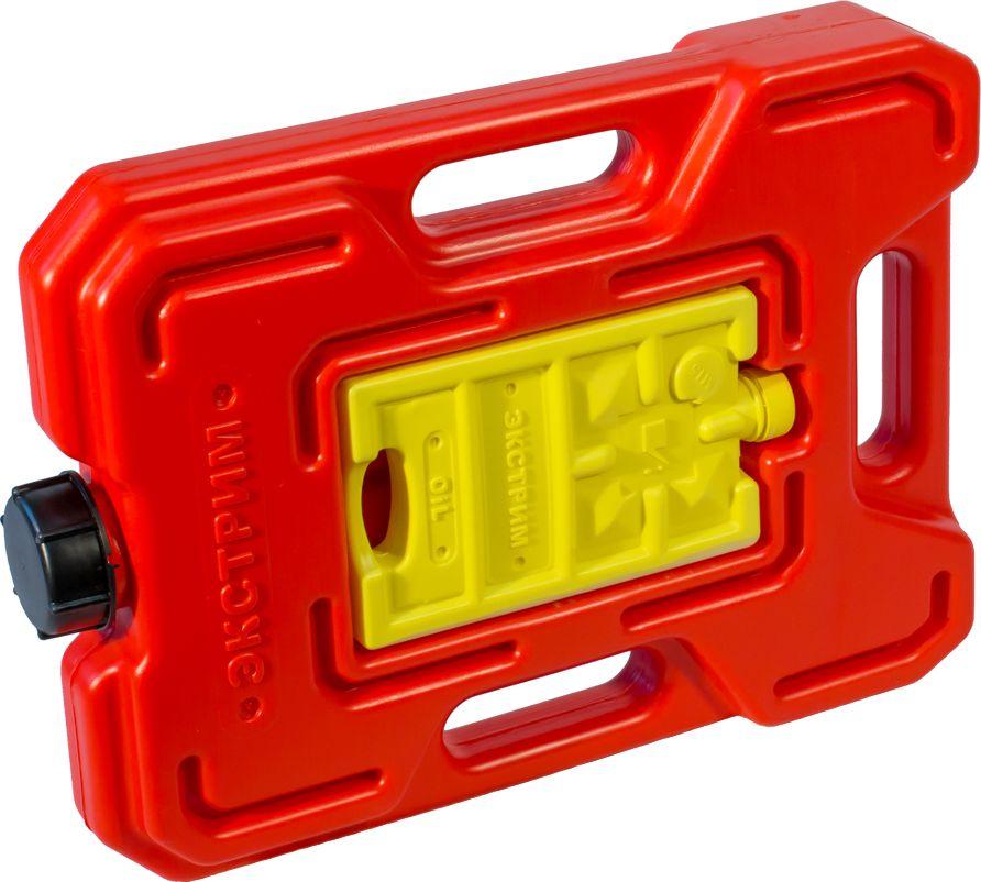 Канистра автомобильная Экстрим Экстрим, комбинированная, цвет: красный, 4,5 лXS451RКанистра автомобильная Экстрим Экстрим имеет самую удобную, а так же она дополнена канистрой маленького размера. Экспедиционную канистру можно закрепить где удобно, в ней присутствует множество ручек и отверстий для крепления в разных местах. Это может быть багажник, квадроцикл, мотоцикл, катер, джип, прицеп и т.д.В канистру плоскую можно заливать любые виды жидкостей: вода, топливо, бензин, солярку, водка, пиво и многое другое.За счет плоской формы канистра Экстрим пригодится чтобы из нее сделать, например: столик или небольшую лавочку, ведь эта канистра выдерживает до 400 кг.