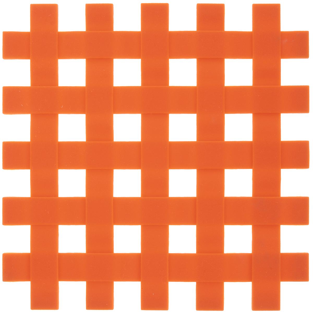 Подставка под горячее Доляна Клетка, цвет: оранжевый, 17 см811893_оранжевыйСиликоновая подставка под горячее — практичный предмет, который обязательно пригодится в хозяйстве. Изделие поможет сберечь столы, тумбы, скатерти и клеёнки от повреждения нагретыми сковородами, кастрюлями, чайниками и тарелками.