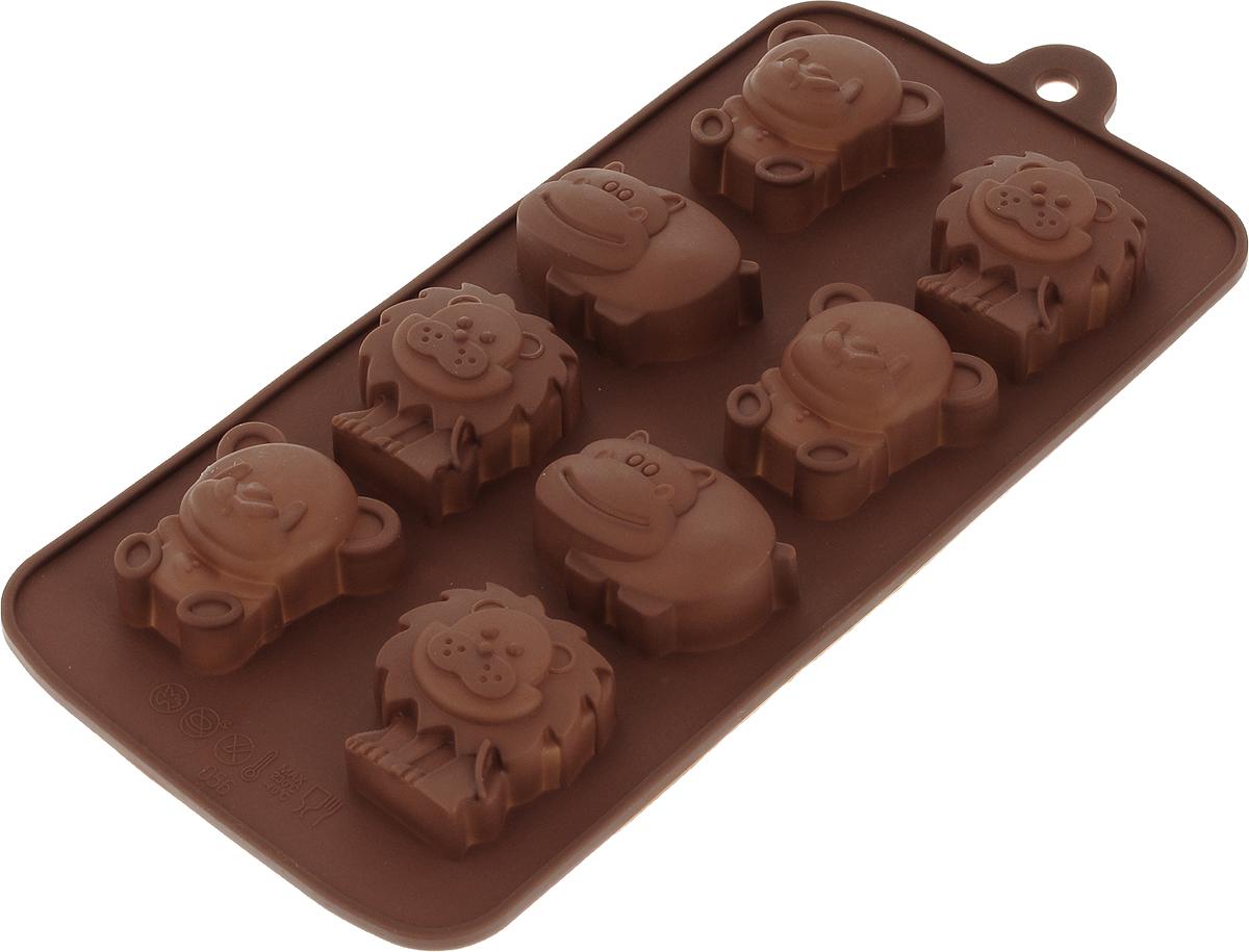 Форма для льда и шоколада Доляна Зоопарк, цвет: коричневый, 8 ячеек, 22 х 12 х 3 см549344_коричневыйФигурная форма для льда и шоколада Доляна Зоопарк выполнена из пищевого силикона, который не впитывает запахов, отличается прочностью и долговечностью. Материал полностью безопасен для продуктов питания. Кроме того, силикон выдерживает температуру от -40°С до +250°С, что позволяет использовать форму в духовом шкафу и морозильной камере. Благодаря гибкости материала готовый продукт легко вынимается и не крошится.С помощью такой формы можно приготовить оригинальные конфеты и фигурный лед. Приготовить миниатюрные украшения гораздо проще, чем кажется. Наполните силиконовую емкость расплавленным шоколадом, мастикой или водой и поместите в морозильную камеру. Вскоре у вас будут оригинальные фигурки, которые сделают запоминающимся любой праздничный стол! В формах можно заморозить сок или приготовить мини-порции мороженого, желе, шоколада или другого десерта. Особенно эффектно выглядят льдинки с замороженными внутри ягодами или дольками фруктов. Заморозив настой из трав, можно использовать его в косметологических целях.Форма легко отмывается, в том числе в посудомоечной машине.