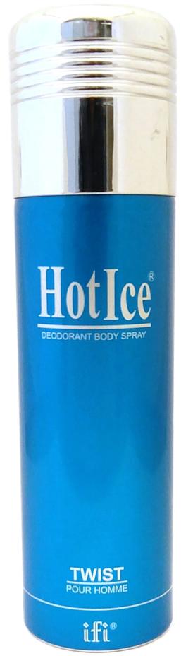 Hot Ice Дезодорант Twist M Deo Spr, 200 мл215994Hot Ice Twist Pour Homme – стойкий парфюмированный дезодорант арабского производства в металлическом флаконе с мелкодисперсным пульверизатором. Ароматическая композиция, обладающая стойкостью парфюмированной воды, представляет собой томный, классический восточный аромат с морскими мотивами, окружающий своего владельца колоритом и энергией экзотического Востока.