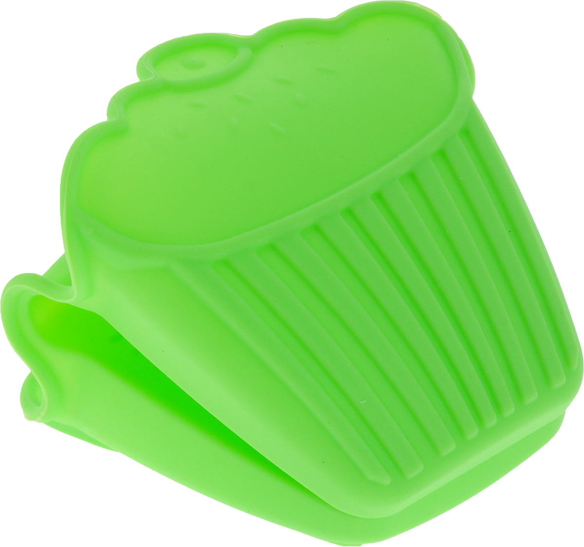 Прихватка для горячего Доляна Капкейк, цвет: салатовый, 10,5 х 8 х 9,5 см1865849_салатовыйЕсли необходимо слить горячую воду из кастрюли или вынуть посуду из горячей духовки или СВЧ-печи, то без прихватки не обойтись. Главными её достоинствами должны быть безопасность и надежность, а с этими задачами превосходно справляются прихватки из силикона. Популярный материал получил широкое распространение во всех областях нашей жизни. Уникальные свойства силикона позволяют создавать оригинальные и практичные вещи, которые отвечают требованиям безопасности, долговечности и эффективности. Оригинальный дизайн прихваток создает радостную атмосферу на кухне. Силиконовые прихватки надежно защищают руки от ожогов, а рифленая поверхность гарантирует, что посуда или другие предметы домашнего обихода не выскользнут. Дополнительное преимущество силиконовых прихваток – практичность. Их можно мыть традиционным способом или в посудомоечной машине. Силикон отличается своей жаропрочностью и выдерживает температуру от -40?С до +250?С.