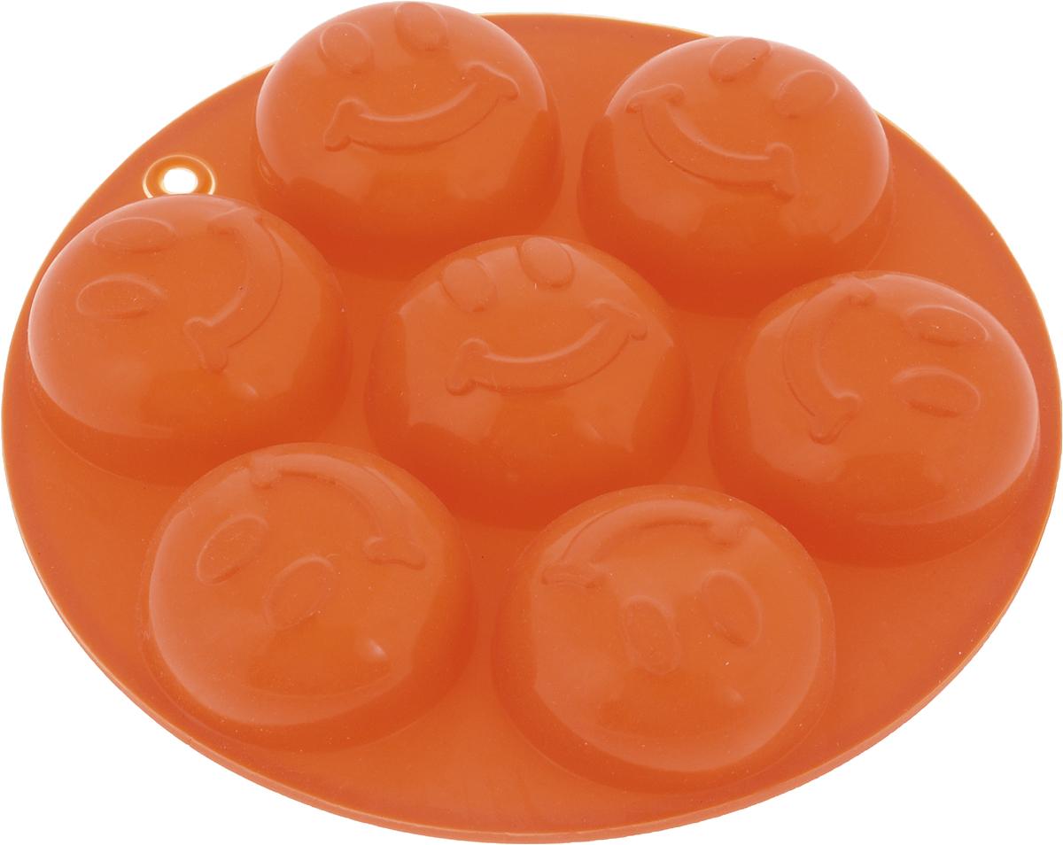 Форма для льда и шоколада Доляна, 7 ячеек, цвет: оранжевый, диаметр 13,5 см1540899_оранжевыйФигурная форма для льда и шоколада Доляна выполнена из пищевого силикона, который не впитывает запахов, отличается прочностью и долговечностью. Материал полностью безопасен для продуктов питания. Кроме того, силикон выдерживает температуру от -40°С до +250°С. Благодаря гибкости материала готовый продукт легко вынимается и не крошатся. Лед получается идеальной формы. С силиконовыми формами для льда легко фантазировать и придумывать новые рецепты. В формах можно заморозить сок или приготовить мини порции мороженого, желе, шоколада или другого десерта. Особенно эффектно выглядят льдинки с замороженными внутри ягодами или дольками фруктов. Заморозив настой из трав, можно использовать его в косметологических целях.Форма легко отмывается, в том числе в посудомоечной машине. Можно использовать в духовом шкафу и морозильной камере.Общий размер формы: 13,5 х 13,5 х 2 см.Диаметр ячейки: 4 см.