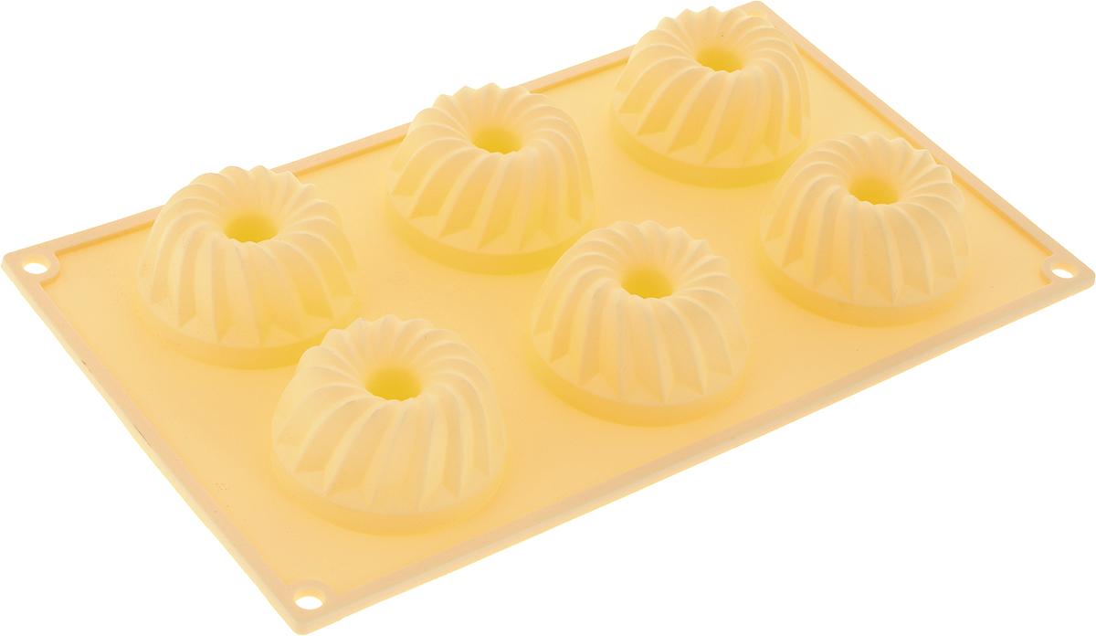 Форма для выпечки Marmiton Кекс, силиконовая, цвет: желтый, 29 х 17 х 3 см, 6 ячеек16024_желтыйФорма для выпечки Marmiton Кекс, выполненная из силикона, будет отличным выбором для всех любителей бисквитов и кексов. Ячейки имеют форму кексов. Форма обладает естественными антипригарными свойствами. Неприлипающая поверхность идеальна для духовки, морозильника, микроволновой печи и аэрогриля. Готовую выпечку или мармелад вынимать легко и просто.С такой формой вы всегда сможете порадовать своих близких оригинальным изделием. Материал устойчив к фруктовым кислотам, может быть использован в духовках и микроволновых печах (выдерживает температуру от 230°C до - 40°C). Можно мыть и сушить в посудомоечной машине.Размер формы для выпечки: 29 х 17 х 3 см. Размер ячеек: 6,5 х 6,5 х 3 см.