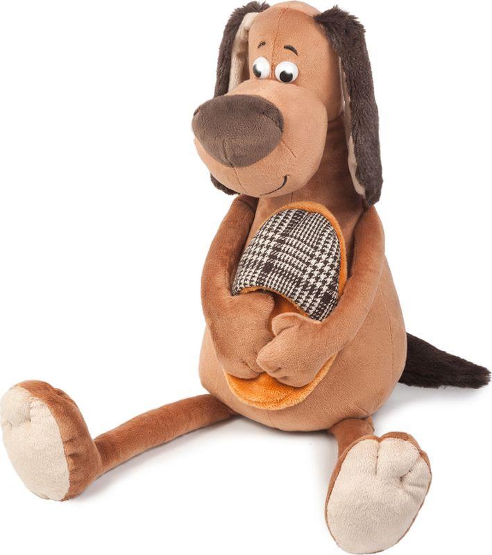 Maxitoys Luxury Мягкая игрушка Пес Ватсон с тапком 35 см малышарики мягкая игрушка собака бассет хаунд 23 см