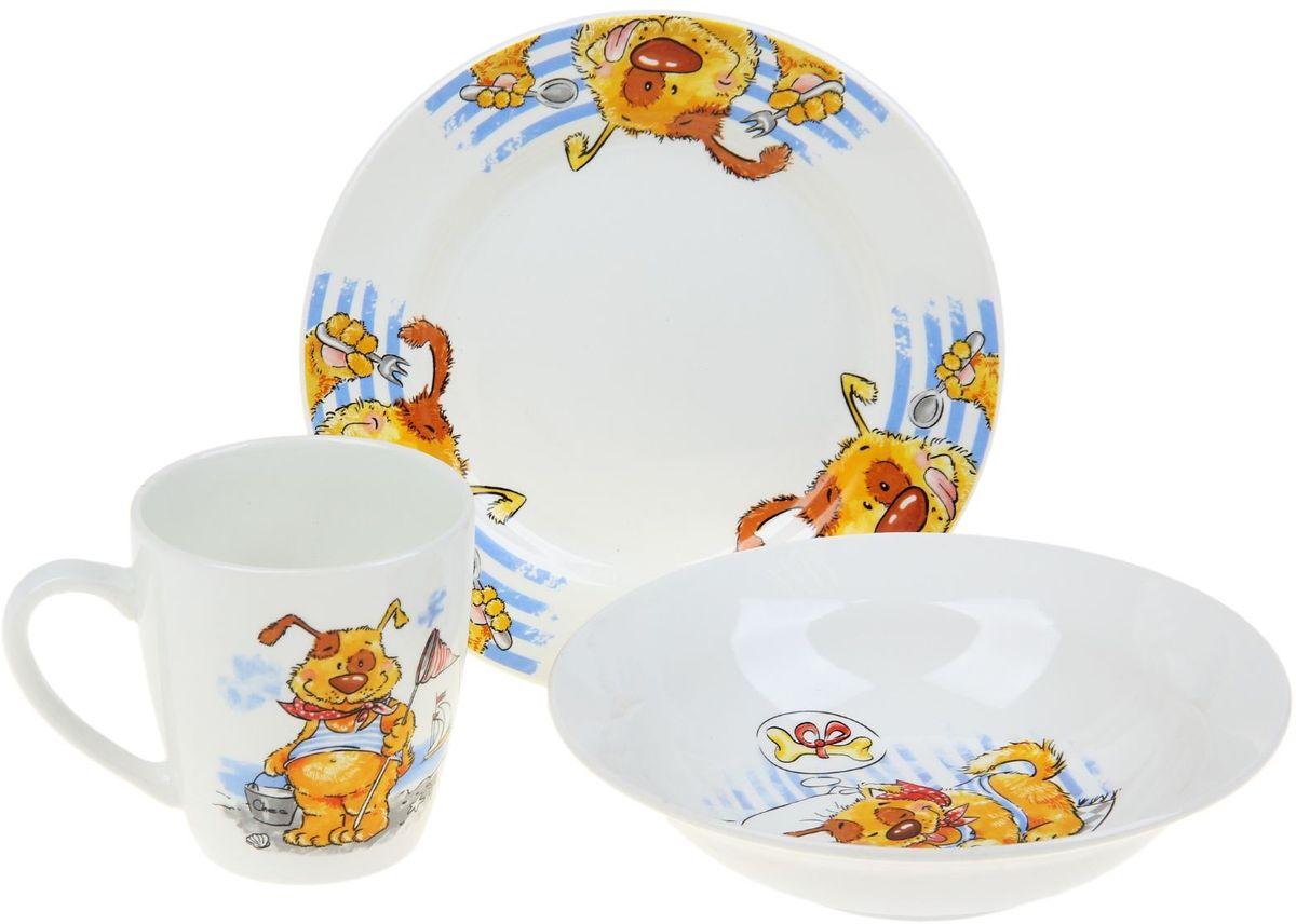 Кубаньфарфор Набор посуды для кормления Дружок 3 предмета