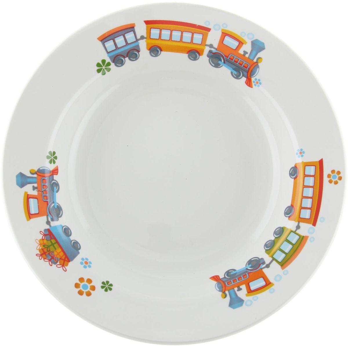Кубаньфарфор Тарелка детская Паровозик 13013231301323Фаянсовая детская посуда с забавным рисунком понравится каждому малышу. Изделие из качественного материала станет правильным выбором для повседневной эксплуатации и поможет превратить каждый прием пищи в радостное приключение.Особенности:- простота мойки,- стойкость к запахам,- насыщенный цвет.
