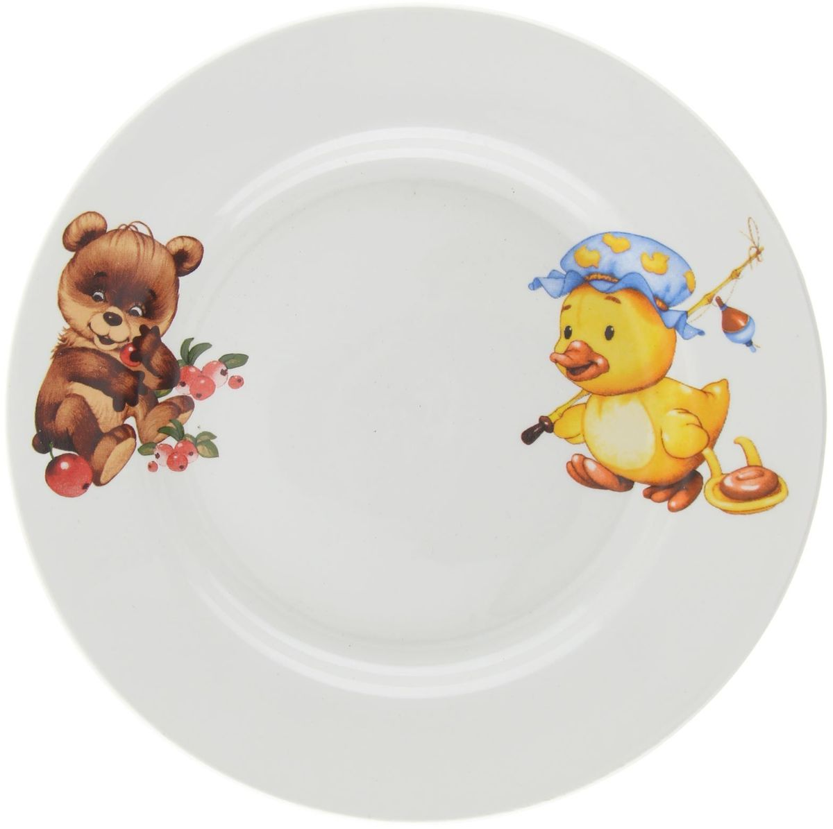 Кубаньфарфор Тарелка детская Утенок Медвежонок1301366Фаянсовая детская посуда с забавным рисунком понравится каждому малышу. Изделие из качественного материала станет правильным выбором для повседневной эксплуатации и поможет превратить каждый прием пищи в радостное приключение. Особенности: - простота мойки, - стойкость к запахам, - насыщенный цвет.