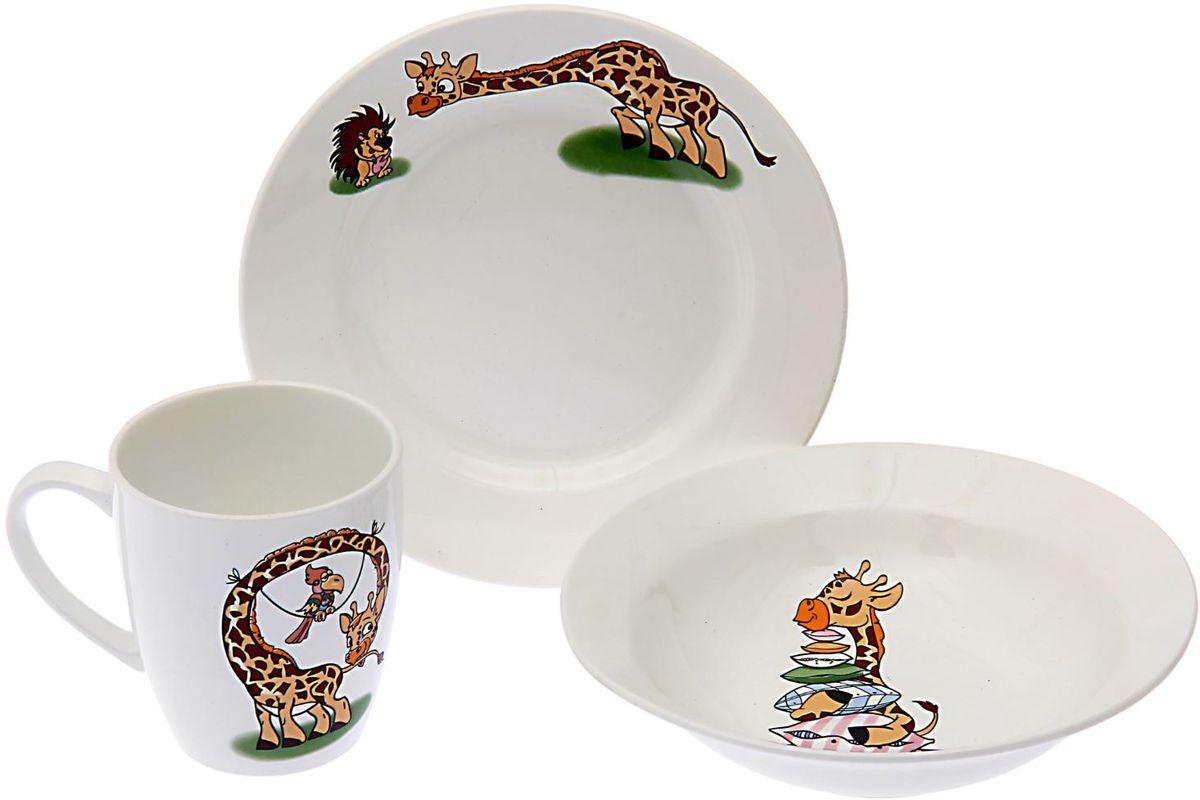 Кубаньфарфор Набор посуды для кормления Жираф 3 предмета