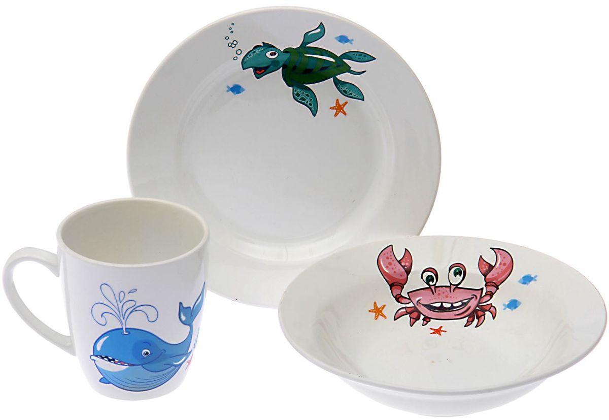Кубаньфарфор Набор посуды для кормления Море 3 предмета