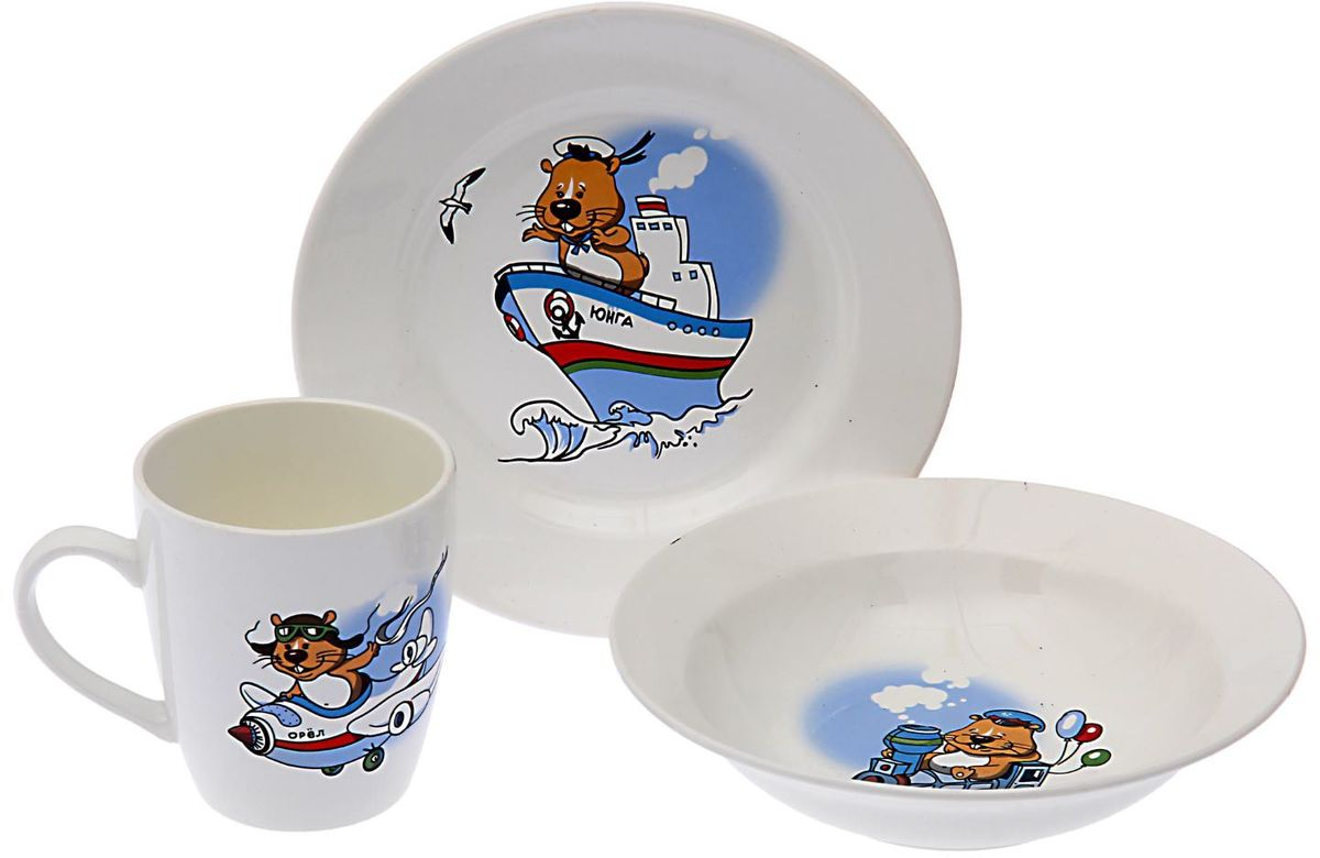 Кубаньфарфор Набор посуды для кормления Хома1495053Фаянсовая детская посуда с забавным рисунком понравится каждому малышу. Изделие из качественного материала станет правильным выбором для повседневной эксплуатации и поможет превратить каждый прием пищи в радостное приключение.Особенности:- простота мойки,- стойкость к запахам,- насыщенный цвет.