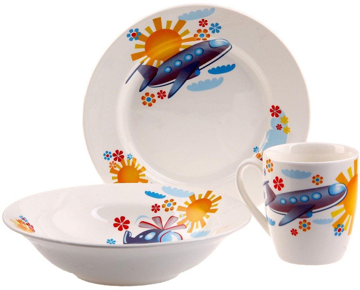 Кубаньфарфор Набор посуды для кормления Вертолетик 3 предмета