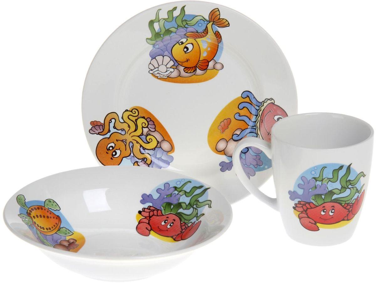 Кубаньфарфор Набор посуды для кормления Морской мир694Фаянсовая детская посуда с забавным рисунком понравится каждому малышу. Изделие из качественного материала станет правильным выбором для повседневной эксплуатации и поможет превратить каждый прием пищи в радостное приключение.Особенности:- простота мойки,- стойкость к запахам,- насыщенный цвет.