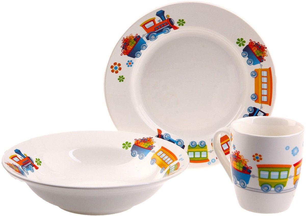 Кубаньфарфор Набор посуды для кормления Паровозик694567Фаянсовая детская посуда с забавным рисунком понравится каждому малышу. Изделие из качественного материала станет правильным выбором для повседневной эксплуатации и поможет превратить каждый прием пищи в радостное приключение.Особенности:- простота мойки,- стойкость к запахам,- насыщенный цвет.