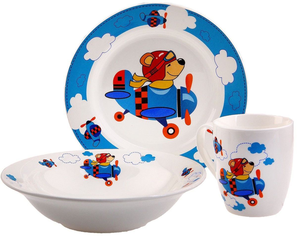 Кубаньфарфор Набор посуды для кормления Пилот694568Фаянсовая детская посуда с забавным рисунком понравится каждому малышу. Изделие из качественного материала станет правильным выбором для повседневной эксплуатации и поможет превратить каждый прием пищи в радостное приключение.Особенности:- простота мойки,- стойкость к запахам,- насыщенный цвет.