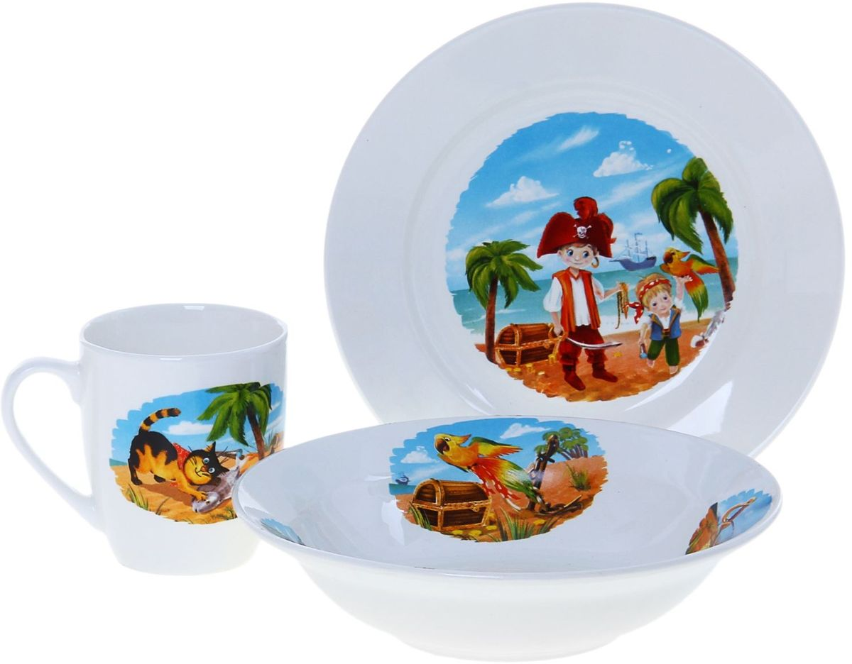 Кубаньфарфор Набор посуды для кормления Пираты 3 предмета