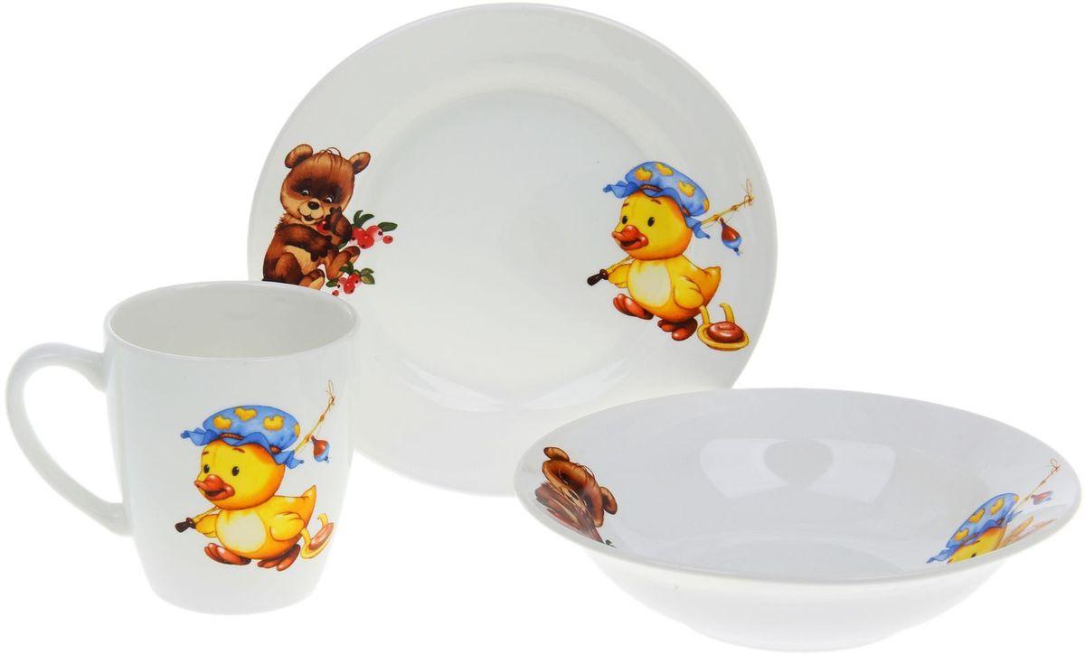 Кубаньфарфор Набор посуды для кормления Утенок, медвежонок 3 предмета