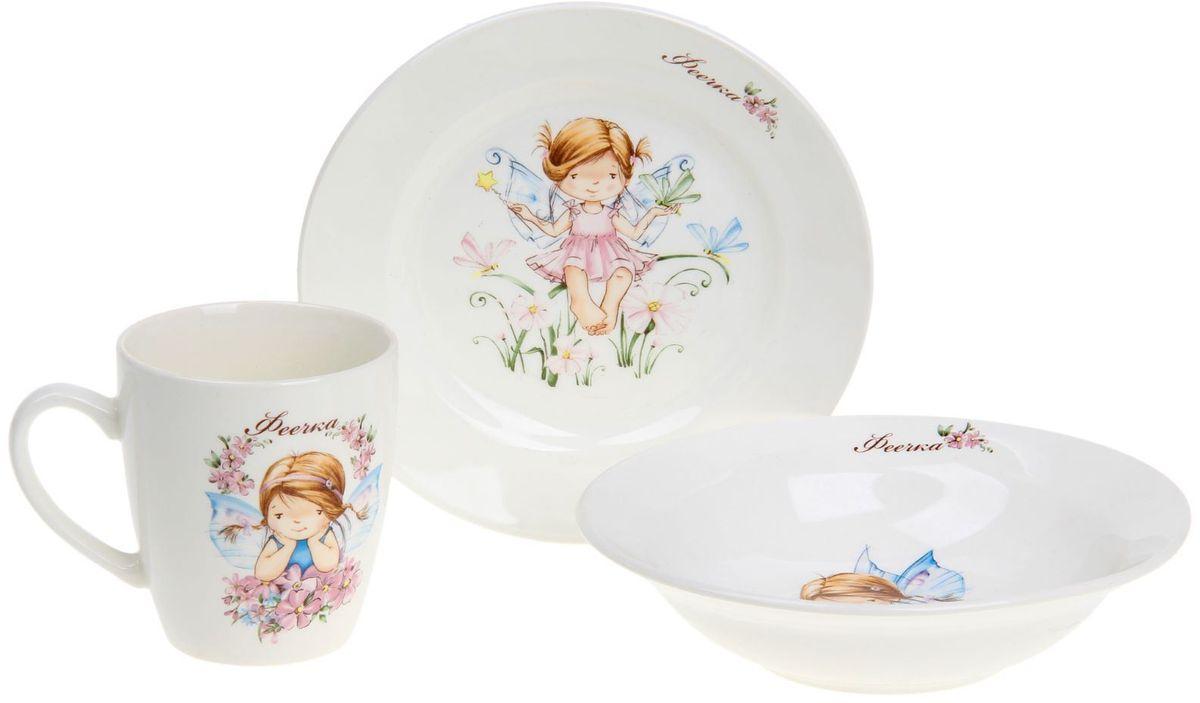 Кубаньфарфор Набор посуды для кормления Феечки 3 предмета1131737Фаянсовая детская посуда от Кубаньфарфор с забавным рисунком понравится каждому малышу. Изделие из качественного материала станет правильным выбором для повседневной эксплуатации и поможет превратить каждый прием пищи в радостное приключение. Особенности: - простота мойки, - стойкость к запахам, - насыщенный цвет.