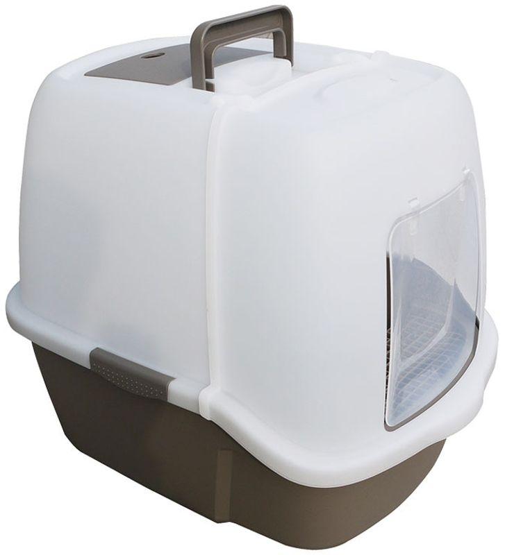 Туалет для кошек Triol, закрытый, c совком и сеткой, 51,3 х 38,8 х 43,3 см туалет triol p658 закрытый с совоком для кошек 50 35 34см