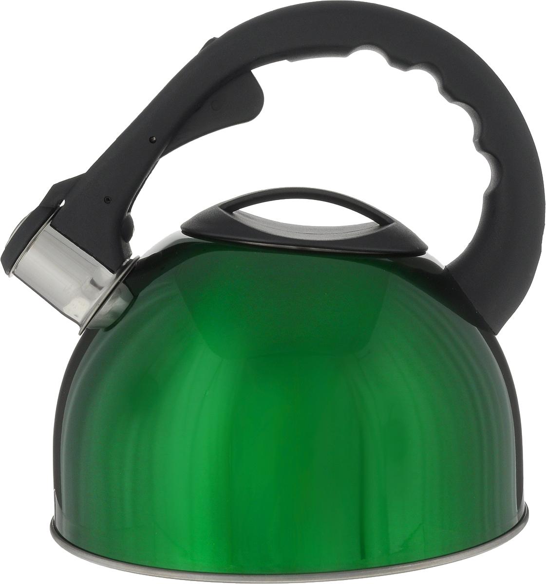 Чайник Teco, со свистком, цвет: зеленый, 3 л. TC-103TC-103_зеленыйЧайник TECO (3,0 л.со свистком нерж.сталь стали c капсульным дном с пласт. ручкой )
