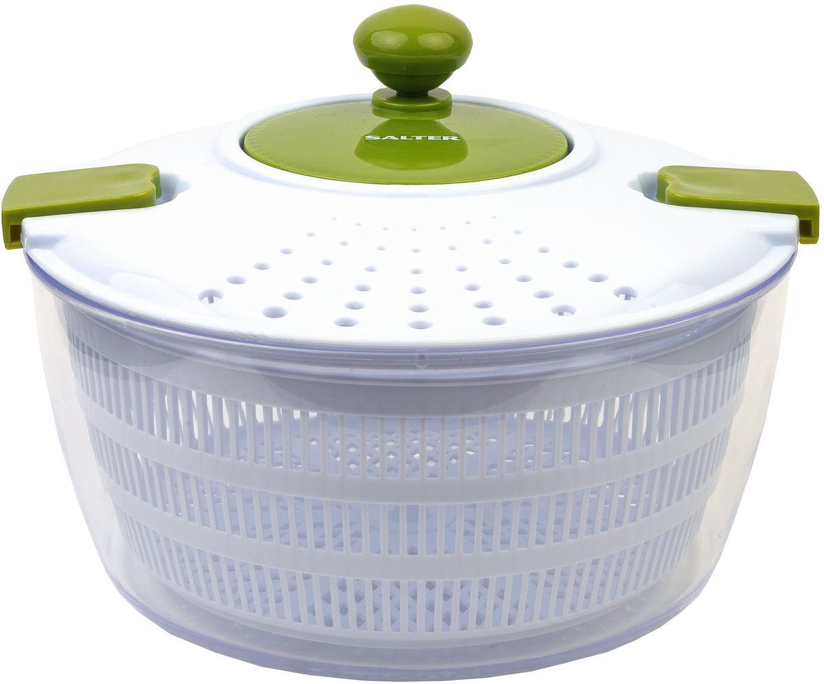 Сушка для салата Salter Salad SpinnerBW03821GRСушка для салатов Salter Salad Spinner - полезный инструмент для приготовления вкуснейших салатов. Идеально подходит для сушки зелени и салатных листов. А также для перемешивания и хранения готовых салатов. Просто поместите салат или зелень во внутреннюю подвижную корзину. Закрепите крышку. Начинайте вращение центрифуги с помощью рукоятки. Вода начнет собираться внутри внешней чаши. Легкие салаты без лишней влаги - это всегда вкусно. Долговечный прочный пластик, уникальный дизайн, удобно и быстро, легко и практично. Большой внутренний объем позволяет приготовить сразу много салата на всю семью. Преимущества: Долговечный прочный пластик Уникальный дизайн Удобно использовать, работает быстро, легко и практично Большой внутренний объем позволяет приготовить сразу много салата на всю семью.