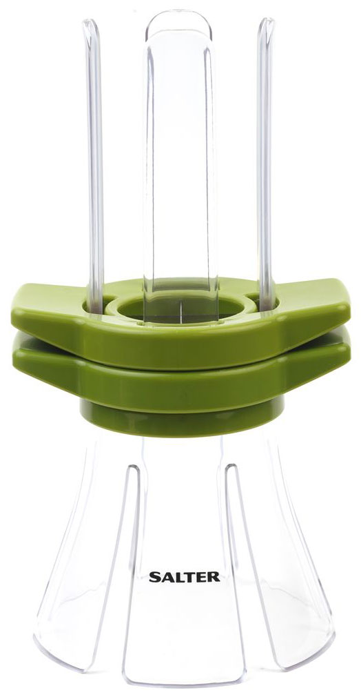 Овощерезка слайсер Salter Fruit and Vegetable SlicerBW05838Овощерезка слайсер Salter Fruit and Vegetable Slicer предназначен для нарезки овощей и фруктов. Изделие выполнено из пластика и имеет 2 резака из нержавеющей стали на 4 и 6 секций. Применение: поместите свежие овощи внутрь стакана, а затем нажмите на лезвия вниз. Боковые ручки дают вам полный контроль. За считанные секунды вы получите ровные палочки. В комплект входит: Нож, надевающийся на палецНасадка-лезвие на 4 половинкиНасадка-лезвие на 6 половинокПрозрачный жолобПластиковое основание с шипами.