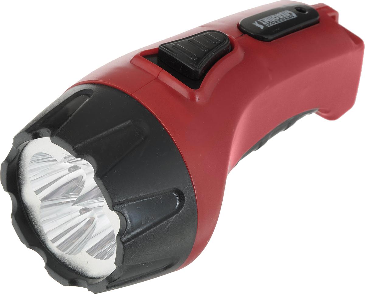 Фонарь ручной Следопыт Электра 4, цвет: красный64057_красныйАккумуляторный фонарик Сибирский Следопыт выполнен из особо прочного пластика. Фонарь оснащен встроенным зарядным устройством, время заряда аккумулятора варьируется от 8 до 14 часов, светодиодный индикатор оповестит вас об окончании зарядки. Время работы на одном заряде аккумулятора достигает 8 часов. Длительное время работы фонарика осуществляется за счет оптимальной мощности применяемого аккумулятора, она составляет 0,5 А. Большая дальность светового луча обеспечивается высококачественными светодиодами и рефлекторным отражателем.Фонарик Сибирский Следопыт станет незаменимым помощником как в быту, так и во время вашего отдыха на природе. Тип фонаря Ручные.Габаритные размеры 130 х 70 х 70 мм.Количество светодиодов - 4 шт.Источник питания аккумулятор 220В.Количество режимов работы - 1.Особенности время непрерывной работы достигает 8 часов.