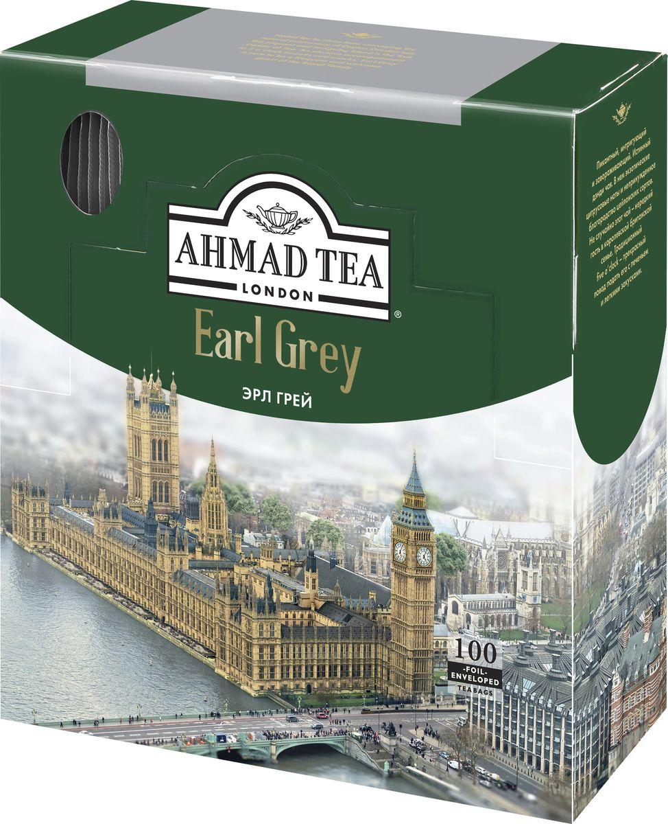 Ahmad Tea Earl Grey черный чай в пакетиках с ярлычками, в конвертах из фольги, 100 шт ahmad tea earl grey черный чай 100 г жестяная банка