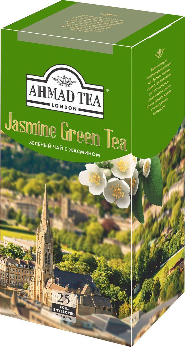 Ahmad Tea зеленый чай с жасмином в пакетиках с ярлычками, в конвертах из фольги, 25 шт black tea anhua two thousand tea senior handmade mahogany base baishaxi mahogany base