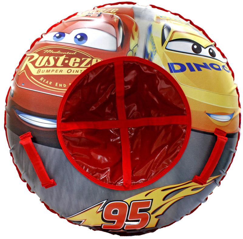 Тюбинг 1Toy Тачки, диаметр 85 смТ10462Disney Тачки, тюбинг - надувные сани,резин.автокамера, материал глянцевый пвх 500 гр/кв.м.,85см,букс.трос.