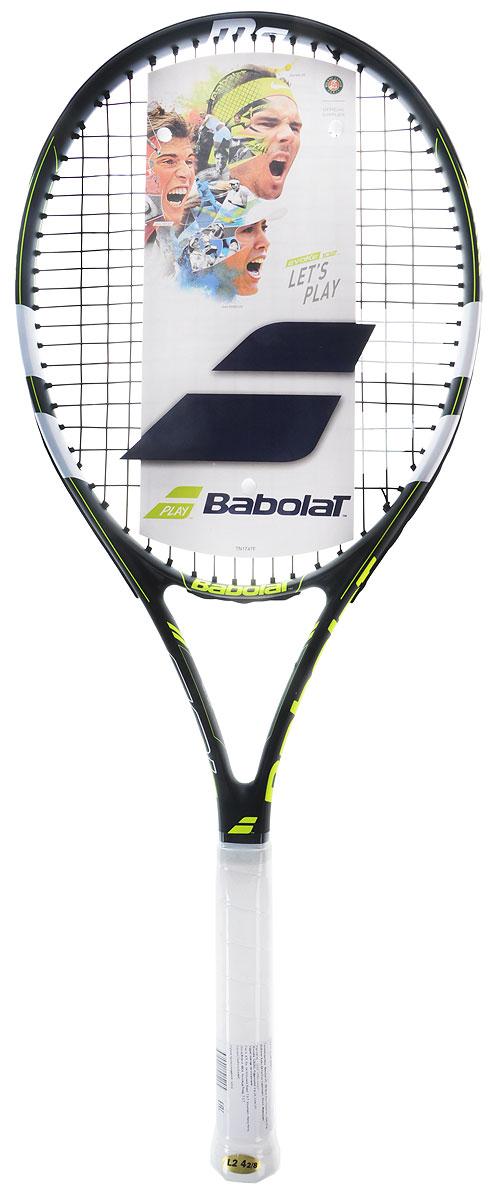 Теннисная ракетка BABOLAT EVOKE 102 (Эвоук 102), с натяжкой, цвет: серый, желтый. Размер 2121189Размер головы: 660 см2/102 дюймаВес: 270 гБаланс 330 ммЖесткость обода:Струнная формула 16/19Состав: Сплав графита