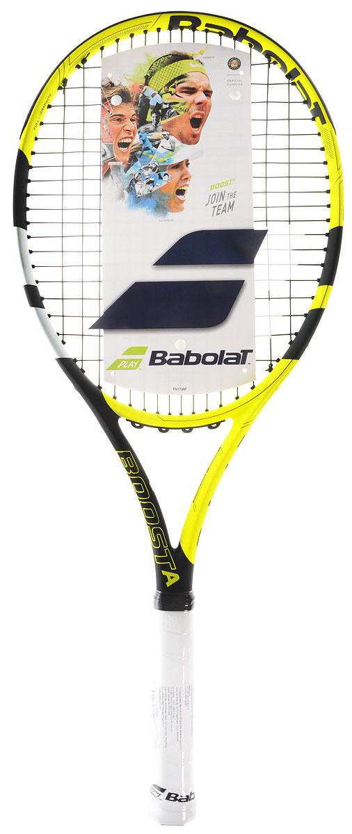 Теннисная ракетка BABOLAT BOOST AERO (Буст Аэро), с натяжкой, цвет: желтый, черный. Размер 3121182Вдохновленная дизайном ракетки Рафаэля Надаля Pure Aero - это 100% графитовая ракетка, лёгкая и маневренная, которая идеально подойдет игрокам, которые играют время от времени, чтобы получить удовольствие от игрыВес 260 грамм предлагает отличную маневренность, что делает её идеальной для женщин-игроков и начинающихРазмер головы 660 см 2 / 102 дюймовВес: 260 граммБаланс: 340 mmДлина 685 mm / 27 in.Жесткость ободаСостав: графит