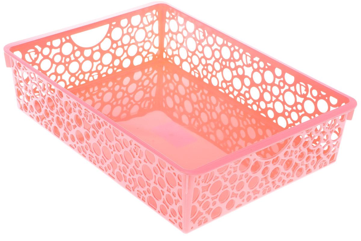 Корзина для мелочей Sima-land Круги, с ручками, цвет: розовый, 34 х 24 х 8,5 см корзина для белья sima land день стирки цвет розовый 35 см х 35 см х 55 см