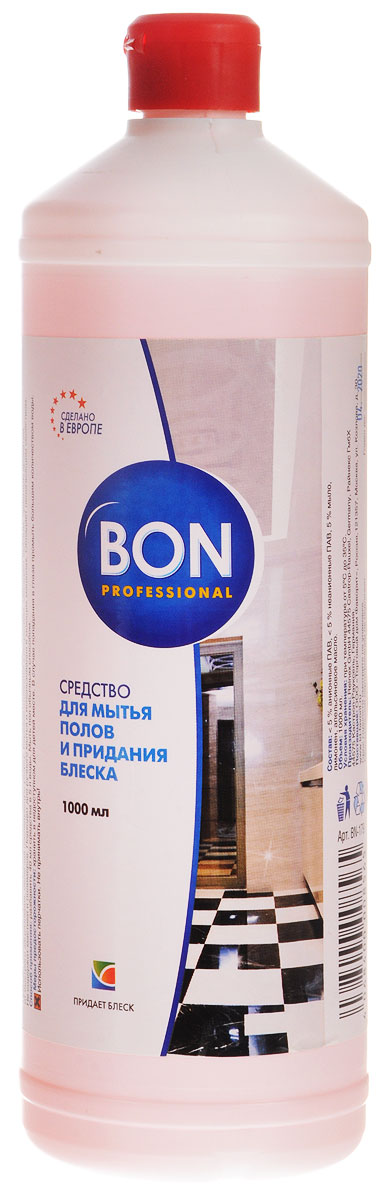 Средство Bon для мытья пола и придания блеска, универсальное, 1 лBN-179Высокоэффективное универсальное средство Bon предназначено для мытья пола в жилых и рабочих помещениях. Идеально подходит для мытья паркета, ламината, линолеума, пластика, плитки из искусственного и натурального камня. Придает поверхности сияющий блеск чистоты, не оставляя разводов и мыльного налета. Обладает пеногасящим свойством.Средство формирует тончайшую невидимую защитную пленку. Бережно относится к покрытиям. Подходит для ручного мытья и использования в моющих машинах. Характеристики:Объем: 1 л. Изготовитель:Германия. Артикул: BN-179.Товар сертифицирован.